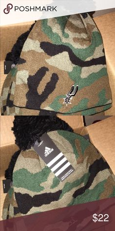 San Antonio Spurs adidas Camo Cuffless Knit Beanie Brand new: Licensed NBA San Antonio Spurs Adidas Beanie  Camo Color-way, with black inside and Pom on top  Authentic Spurs Merch!  Price is always negotiable so let me know if interested! adidas Accessories Hats