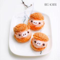 Cute Desserts, Dessert Recipes, Choux Cream, Pasta Choux, Kawaii Dessert, Green Tea Latte, Cream Bowls, Choux Pastry, Bakery Cafe
