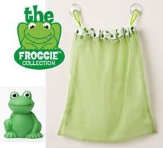 "Tidy Tub Toy Bag (Includes Frog Tub Toy) by Mommy's Helper. $9.99. Includes Frog tub toy!. Machine washable and mildew resistant. Suction cups keep Toy Bag up and out of the way. Quick drying mesh allows toys to drain. Easy to install, easy to remove. The Tidy Tub Toy Bag from the ""Froggie Collection"" by Mommy's Helper helps keep bathtime organized, providing a place to store and dry tub toys."