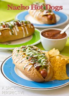 Nacho Hot Dog Recipe   ASpicyPerspective.com #hotdog #summer #nachos #recipe