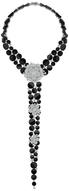 Rosamaria G Frangini | High BLACK Jewellery | TJS | Tuxedo Necklace with tie from CafeSociety - Chanel, FineJewelry Collection.