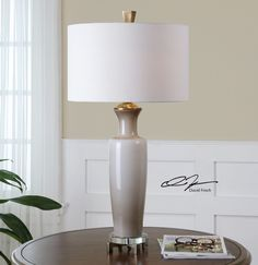 Uttermost Consuela Taupe Gray Glass Table Lamp 27468-1