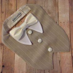 Vanilla Beige Dog Tuxedo Bib custom color bow by…