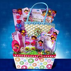 Dora the Explorer Gift Baskets for Kids Great Easter Gift for Girls Under 10 Get Well Gift Baskets, Girl Gift Baskets, Get Well Gifts, Unique Gifts For Girls, Gifts For Kids, Christmas Gift Baskets, Christmas Gifts, Christmas Ideas, Birthday Drinks