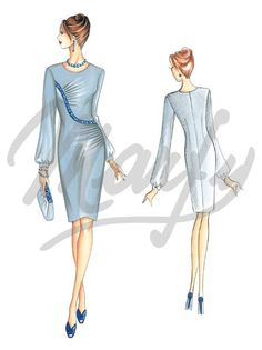 Fabric required about mt 1 60 wide 1 40 Available in sizes 42 46 50 This elegant and refined asymmetric fitted dress features lateral drapes alternated with wavy seams embellished with embroidered edging and pearls and sleeves gathered at the wrists Can be made in jersey or crêpe the sleeves can also
