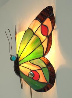 Hand by AmberGlassArt Stained Glass Table Lamps, Stained Glass Light, Stained Glass Ornaments, Stained Glass Patterns, Butterfly Lamp, Butterflies, Luminaire Mural, Glass Wall Art, Glass Birds