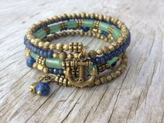 Denim Anchor Memory Wire Wrap Bracelet With by McHughCreations, $36.95