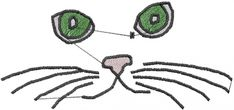 AnnTheGran Free Embroidery Design: Kitty Face 1.91 inches H x 4.10 inches W