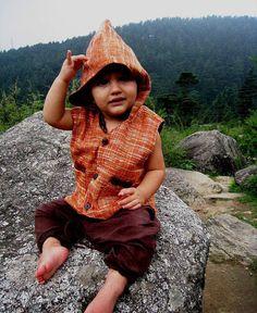Khadi Cotton Kids Vest With Hoodie by PrimitiveTribalCraft on Etsy