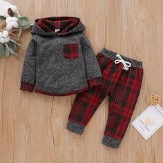 Baby Boy Trendy Plaid Long-sleeve Hoodie and Pants Set Baby Outfits Newborn, Baby Boy Outfits, Kids Outfits, Baby Newborn, Baby Girl Fashion, Kids Fashion, Autumn Fashion, Jogger Pants Outfit, Plaid Hoodie