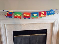 Choo Choo I'm 2, Choo Choo I'm two banner, Train Theme Birthday Party, Train Theme Birthday Banner, Boy's second birthday party ideas by HandmadeByVee on Etsy https://www.etsy.com/listing/200884775/choo-choo-im-2-choo-choo-im-two-banner