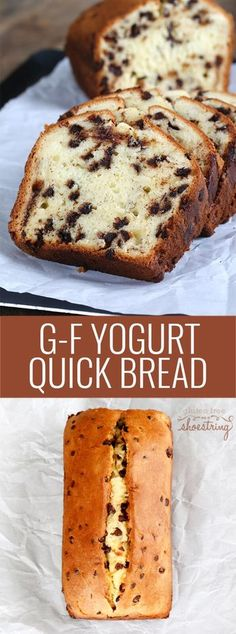 This tested recipe for gluten free quick bread is made with yogurt and chocolate chips. Super simple recipe, moist and tender results! https://glutenfreeonashoestring.com/gluten-free-quick-bread-chocolate-chip-yogurt/