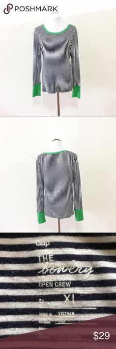 """Gap the Bowery open crew striped top XL Brand: gap Size: XL Chest flat: 21"""" Length flat:26"""" Material: in photos  Condition: GUC Minor pilling   ✔️⭐️⭐️⭐️⭐️⭐️ ✔️Shop with confidence, I'm a suggested user! ✔️Fast shipping! GAP Tops Tees - Long Sleeve"""