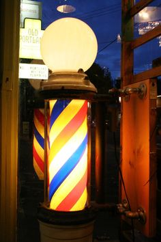 1920s Lighted Barber's Shop Pole with Cast Iron Body - Antique with Original Parts - Old Portland Hardware & Architectural, Architectural Salvage in Portland, Oregon