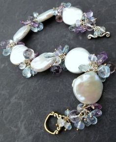 Baroque Coin Pearl Bracelet In Sterling Silver, Aquamarine, Blue Topaz & Amethyst