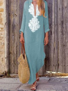 Fashionable Cotton/Line Casual V-Neck Yellow Boho Shift Dress – Ininruby Slit Dress, Maxi Dress With Sleeves, Sleeve Dresses, Mode Abaya, Moda Chic, Maxi Robes, Bohemian Mode, Long Sleeve Maxi, Mode Outfits