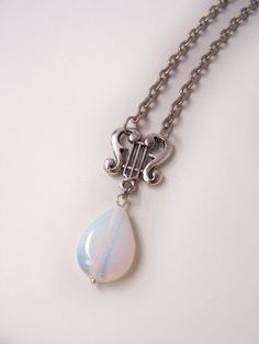 Harp Opalite Necklace Lyre Necklace Music Jewelry Simple Jewelry Everyday Jewelry Romantic Jewelry €11
