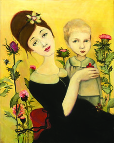 Cassandra Barney | Artwork  Mother and child  Love the thistles