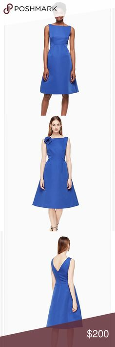 ‼️SALE‼️Kate Spade Cobalt V-back structured dress NWT Kate Spade Cobalt blue dress w/detachable rose pin. In-season and beautiful style for any summer weddings or upcoming formal events! I am usually a size 4-6 and the 2 fits perfectly. Originally $478 and never worn!. Price negotiable kate spade Dresses