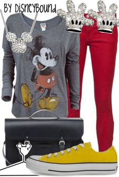 I have almost everything for this outfit! Just need the red pants.  And Im switching out the chucks for yellow TOMS.