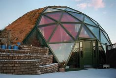 Glass house (Iceland) - sort of a sod house with a normal front that is enclosed by a partial geodesic dome;  by marketa.kalvachova, via Flickr