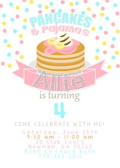 Pancakes and pajamas invitation pancake party pancakes and pajamas pancakes and pajamas invitation pancake party pancakes and pajamas birthday pancake party invitation girl birthday invite diyprinted invitations filmwisefo
