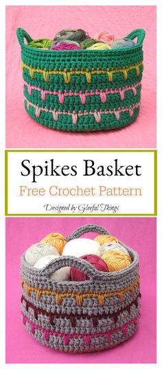 Spikes Basket Free Crochet Pattern #freecrochetpatterns #baskets