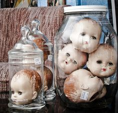 Oh my... dolls already freak me out, this makes it so much worse. How exactly does one accumulate so many creapy doll heads?