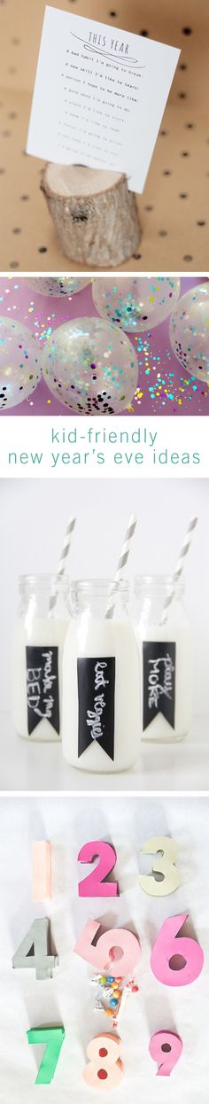 New Year's Eve can be as fun to prepare as it is to celebrate. With these kid-friendly DIYs for the perfect New Year's party, your family will be celebrating all week long. Family New Years Eve, New Years Eve Games, New Years Eve Day, New Years Party, Christmas Games For Kids, Christmas Fun, Holiday Fun, Family Games For Kids, New Years Eve Decorations