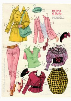 Helena og Sofia 04 tøj * The International Paper Doll Society by Arielle Gabriel for all paper doll and paper toy lovers. Mattel, DIsney, Betsy McCall, etc. Join me at ArtrA, #QuanYin5 Linked In QuanYin5 YouTube QuanYin5!