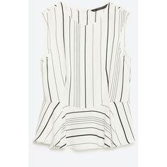 Zara Contrast Striped Peplum Top ($40) ❤ liked on Polyvore featuring tops, zara top, white top, white peplum top and peplum tops