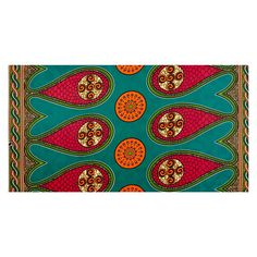 """Supreme Bazin African Print 6 Yards Teal/Pink/Orange from @fabricdotcom  Add some flair to your wardrobe with this bold printed fabric. This polyester brocade is quite crisp with a  super smooth shiny finish. It is woven with an underlying design, then printed with a large allover border design of paisleys and is sold in increments of 6 yards of 47"""" wide fabric. Use for bold maxi skirts, pleated a-line skirts that hold their shape, decorations, and more! Colors include dark green, kelly…"""
