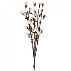 Decorative Brown Twig Lights with White Rose Flowers