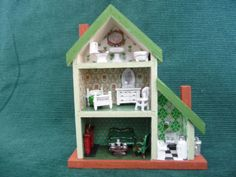1/144th scale Miniature Dollhouse for your Doll House Painted Green & Furnished | eBay