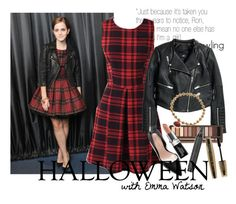 """""""Halloween with Emma Watson"""" by gretamariaa ❤ liked on Polyvore featuring Emma Watson, Sole Society, H&M, Urban Decay, Topshop, Butter London, L'Oréal Paris, Kensie, Halloween and contest"""