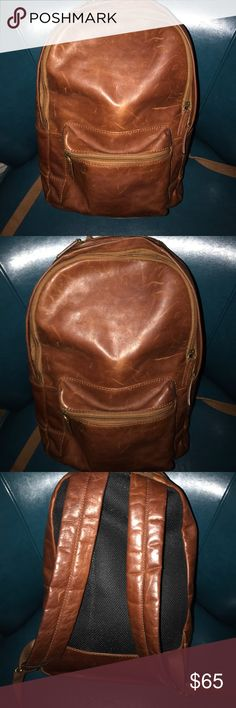 Distressed leather Fossil backpack Distressed leather Fossil backpack. Gently used with several compartments inside Fossil Bags Backpacks