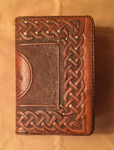 Brown sketchbook/journal/diary cover with hand tooled swans with Celtic knotwork border - refillable