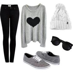 Cute winter look beanie sweater pullover pull-on shoes back jeans heart print