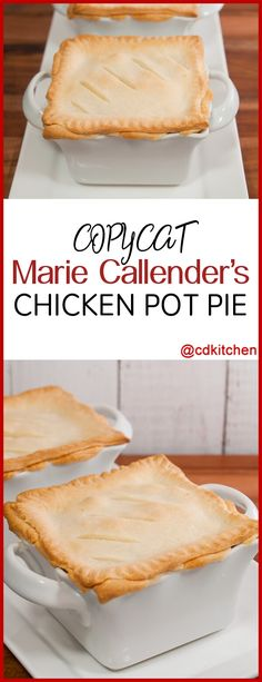 Copycat Marie Callender's Chicken Pot Pie - This copycat pot pie recipe is made with chicken, carrots, celery, onion, & peas in a thickened cream sauce baked in a homemade pie crust. - May also make pierogi's w/this recipe Chicken Pop Pie, Chicken Pot Pie Crust, Chicken Pot Pie Recipe With Heavy Cream, Chicken Pot Pie Sauce Recipe, Chicken Pot Pie Casserole, Copykat Recipes, Pie Recipes, Cooking Recipes, Chicken Recipes