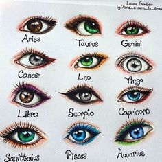 "Laura Mary ""I drew the signs as eyes Double tap yours and comment if your eye is like your sign❤Hope you like it☺"" 2020 homme ideal ideal sternzeichen verseau vierge zodiaque Zodiac Signs Astrology, Zodiac Star Signs, Zodiac Art, Zodiac Horoscope, Astrology Numerology, Numerology Chart, Scorpio Signs, Aquarius Astrology, Numerology Calculation"