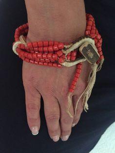 Pulsera Yemenita en coral rojo fossil ojo de buey!!! di Alkemyartek su Etsy