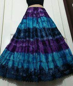 Ladies Cotton Tie&Dye Skirt Crochet&Lace Boho Purple/Blue 5 tier Ethnic…