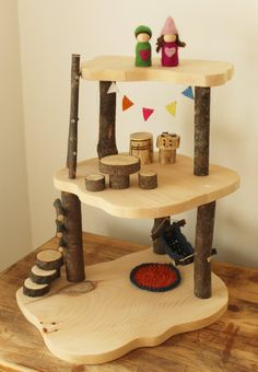 Wooden Tree House Waldorf Toy. Wooden Doll House. Gnome Home.