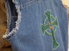 Celtic Cross Trinity Knot Hand Embroidered Denim Vest, Sleeveless Frayed Denim Vest Celtic Cross, OOAK Denim Celtic Cross with Triquetras Custom Denim Jackets, Lady M, Trinity Knot, Recycled Denim, Cropped Jeans, How To Look Pretty, Celtic, Vest, Trending Outfits