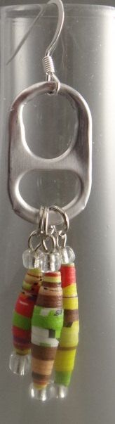 Pop tab earrings with colorful paper beads.