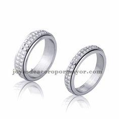 anillo simple brillo plata en acero inoxidable para amantes -SSRGG971731
