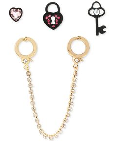 Betsey Johnson Handcuff and Stud Earring Set - Jewelry & Watches - Macy's Handcuff Jewelry, Jewelry Watches, Valentines Day Treats, Review Fashion, Betsey Johnson, Earring Set, Fashion Jewelry, Pendant Necklace, Personalized Items
