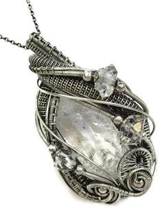 Wire-Wrapped Natural Quartz Crystal Pendant in Antiqued