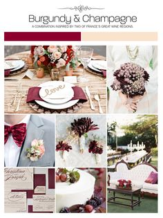 Burgundy and champagne wedding inspiration board, color palette, mood board via Weddings Illustrated