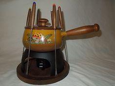 Vintage Merry Mushroom Fondue Pot Set from 1970's